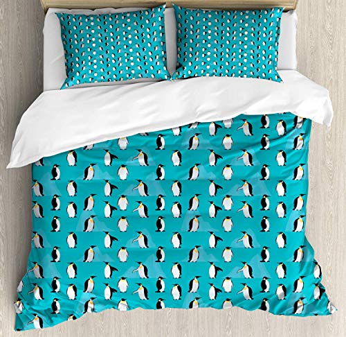 Turquoise Blue Double Bedding Duvet Cover 3 Piece, Icebergs and Penguins, Soft Bedding Protects Comforter with 1 Comforter Cover 2 Pillow Case, Dark Turquoise Charcoal Grey Earth Yellow Pale Blue Grey