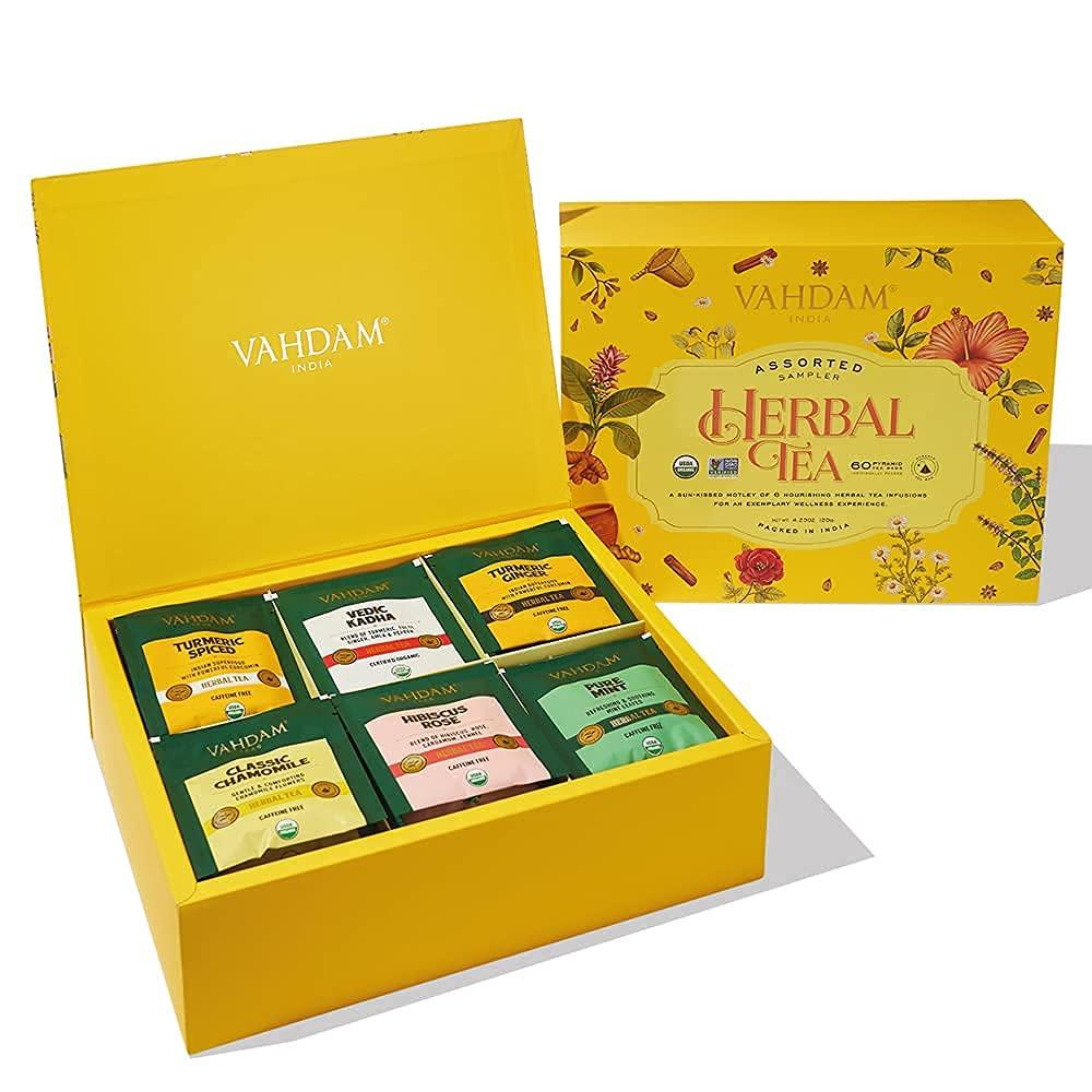 VAHDAM Organic Financial sales sale Herbal Tea Sampler Special sale item - 60 Spic Bags Turmeric