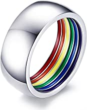Zovivi LGBT Rainbow Inlaid Band Flag Gay Lesbian Jewelry Solid Steel Ring