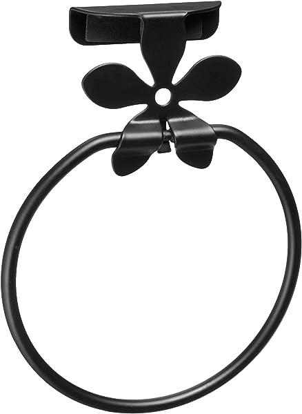 Spectrum Diversified Flower Towel Ring Over The Cabinet Door Black
