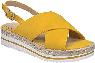 da1adf33a8 SODA Women's Open Toe Ankle Strap Espadrille Sandal (10, Mustard-Glor)