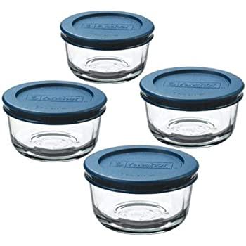 Anchor Hocking 1-Cup Round, Glass Food Storage Containers with Plastic Lids, Blue, Set of 4