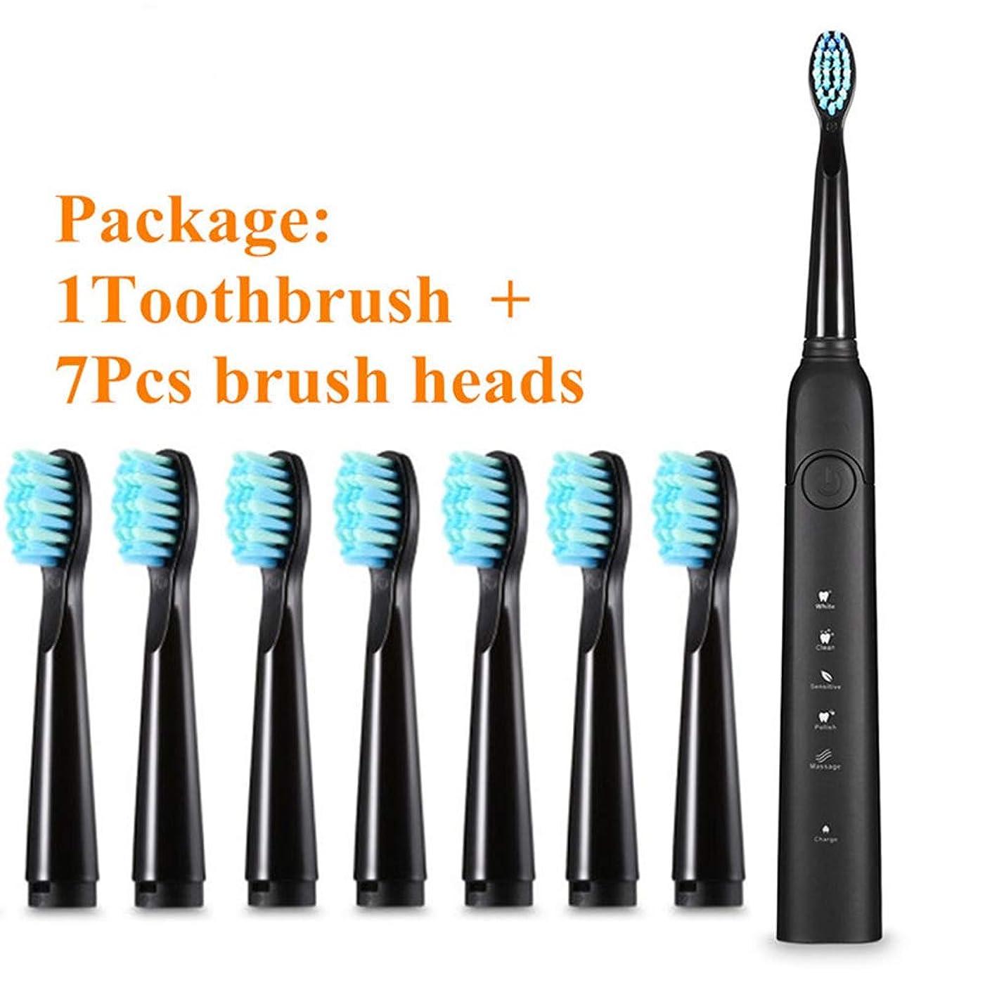 優れましたポスト印象派赤面電動ソニック歯ブラシUSB充電式防水電動歯ブラシ、7つのブラシヘッド付きスマートタイマー歯ブラシ