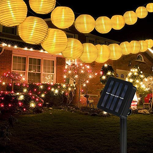 Vivibel Solar Lampions Lichterkette Außen 6 Meter 30 LED Lampions 2 Modi IP 65 Wasserdicht Solar Beleuchtung Aussen für Garten, Hof, Balkon, Hochzeit, Fest Deko (Warmweiß)