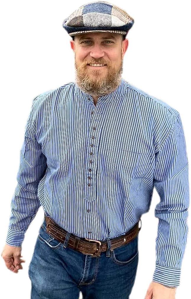 Traditional New Free Shipping Irish Grandfather Shirt - New item Blue Pinstripe Colla Dark