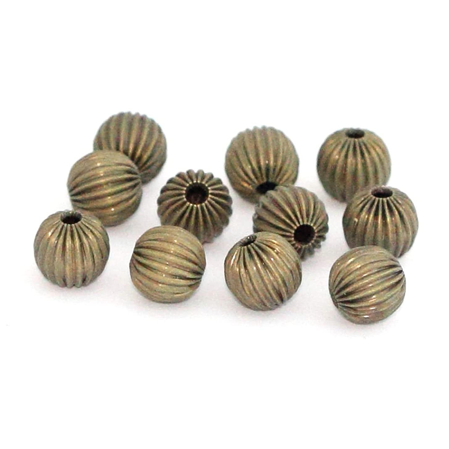 200pcs Beautiful Mellon Spacers 6mm Loose Round Metal Bead Antique Bronze Plated Brass for Jewelry Craft Making CF117-6