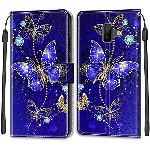 YKTO Cárcasa para Samsung Galaxy J6 Plus Protectora Dibujo a Color Funda de Cuero PU Piel Funda Teléfono Móvil Flip Cover Skin 360 Bumper Case Cover Samsung Galaxy J6 Plus,Mariposa Azul