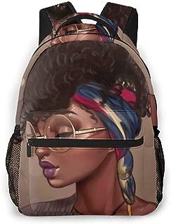 Boys Girls School Bag Bookbag Backpack Black Queen Afro Hair Black Girl Art Outdoor Travel Bag for Elementary Middle School