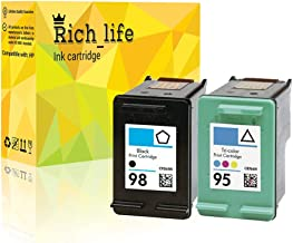 Rich_life Remanufactured Ink Cartridge Replacement for HP 95 C8766WN HP 98 C9364WN for HP Printer Officejet Deskjet Photosmart 2 Pack(1 Black+1Tri-Color)