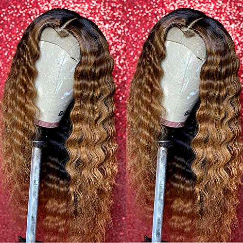 Fureya Synthetic Wigs for Women Heat Resistant Fiber Glueless Lace Front Ombre Wigs with Baby Hair Blond with Black Roots 24 inch