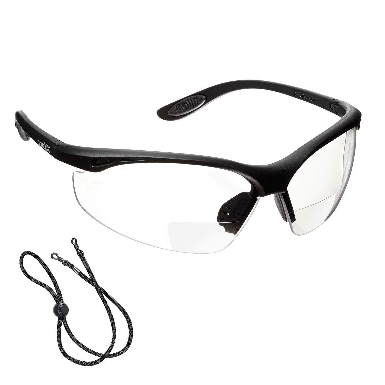 voltX 'CONSTRUCTOR' (TRANSPARENTE dioptría 1.0) Gafas de Seguridad de Lectura BIFOCALES que cumplen con la certificación CE EN166F / Gafas para Ciclismo incluye cuerda de seguridad - Reading Safety