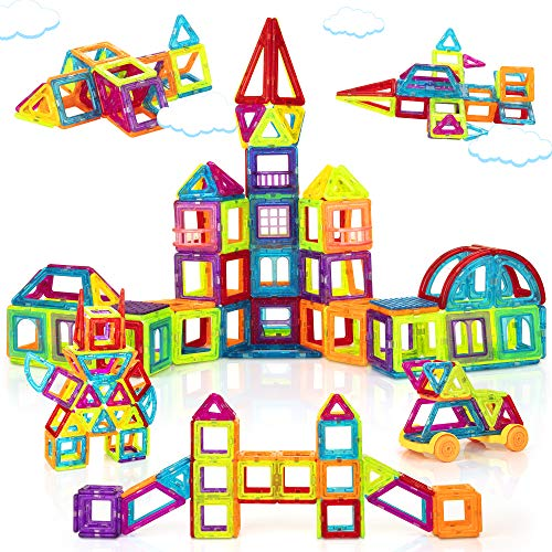 Magnetic Building Blocks for Kids, 184PCS Colorful Magnet Tiles with Multiple Shapes, Strong Magnets, 3D STEM Educational Toy for 3+ Year Old Girls Boys