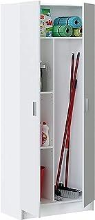 Mediawave Store - 240800 Meuble multi-usages avec 2 portes de couleur blanche, armoire pour maison, salle de bain, buander...