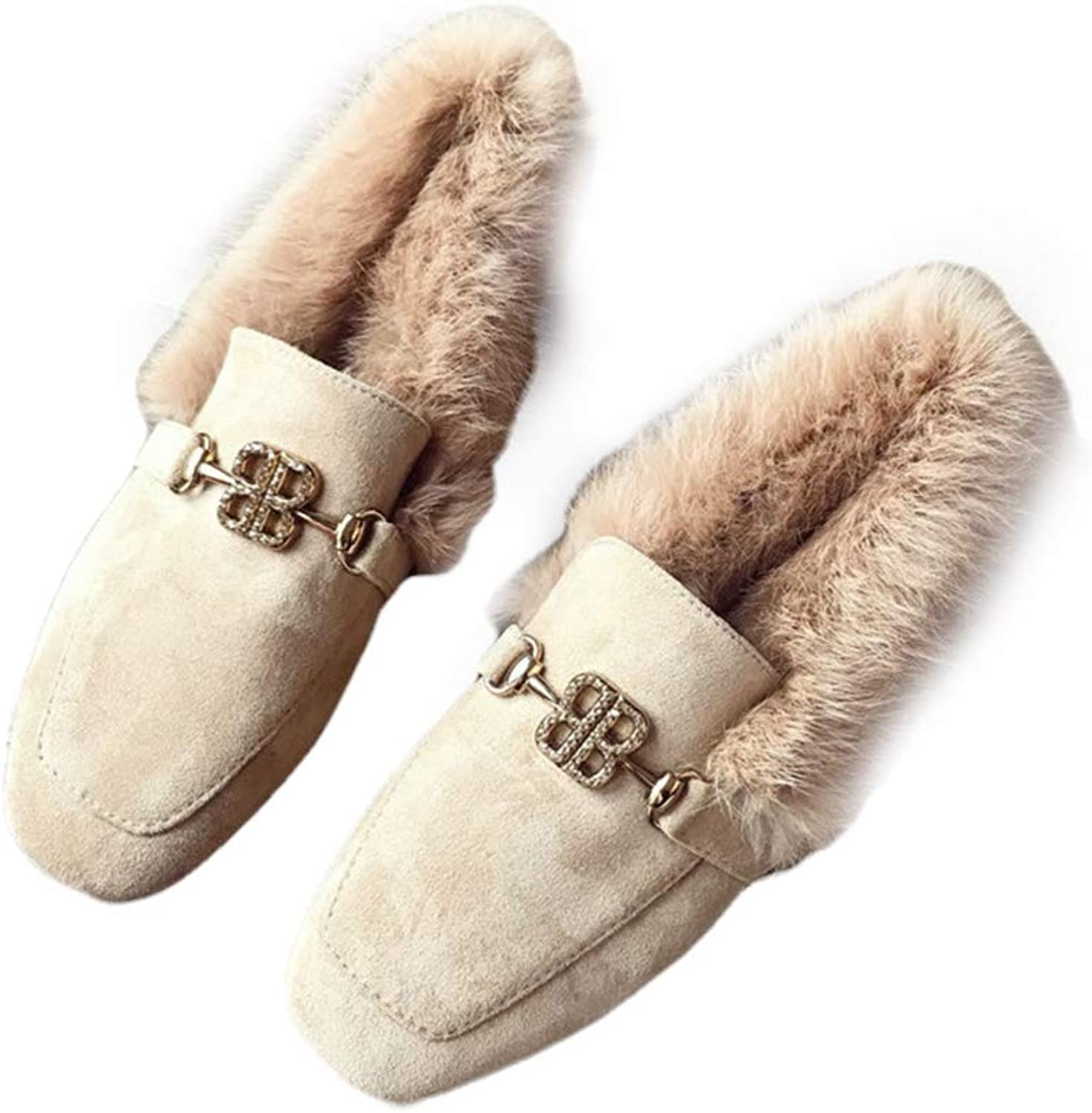 August Jim Flats shoes for Women Winter,Slip-on Winter Fur Flats Fuzzy Moccasin Loafers
