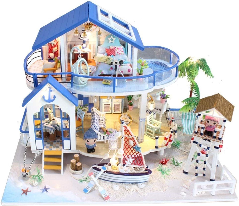 YWJHY DIY-Hütte handgemachtes Haus-Gebude-Modell, das Landhaus-kreatives Geschenk zusammenbaut,Blau,Einheitsgre
