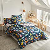Joyreap 6 Piece Twin Size Bed in a Bag, Colorful Dinosaur Printed on Navy, Microfiber Comforter Set for Kids Boys n Girls (1 Comforter, 2 Pillow Shams, 1 Flat Sheet, 1 Fitted Sheet,1 Pillowcase)