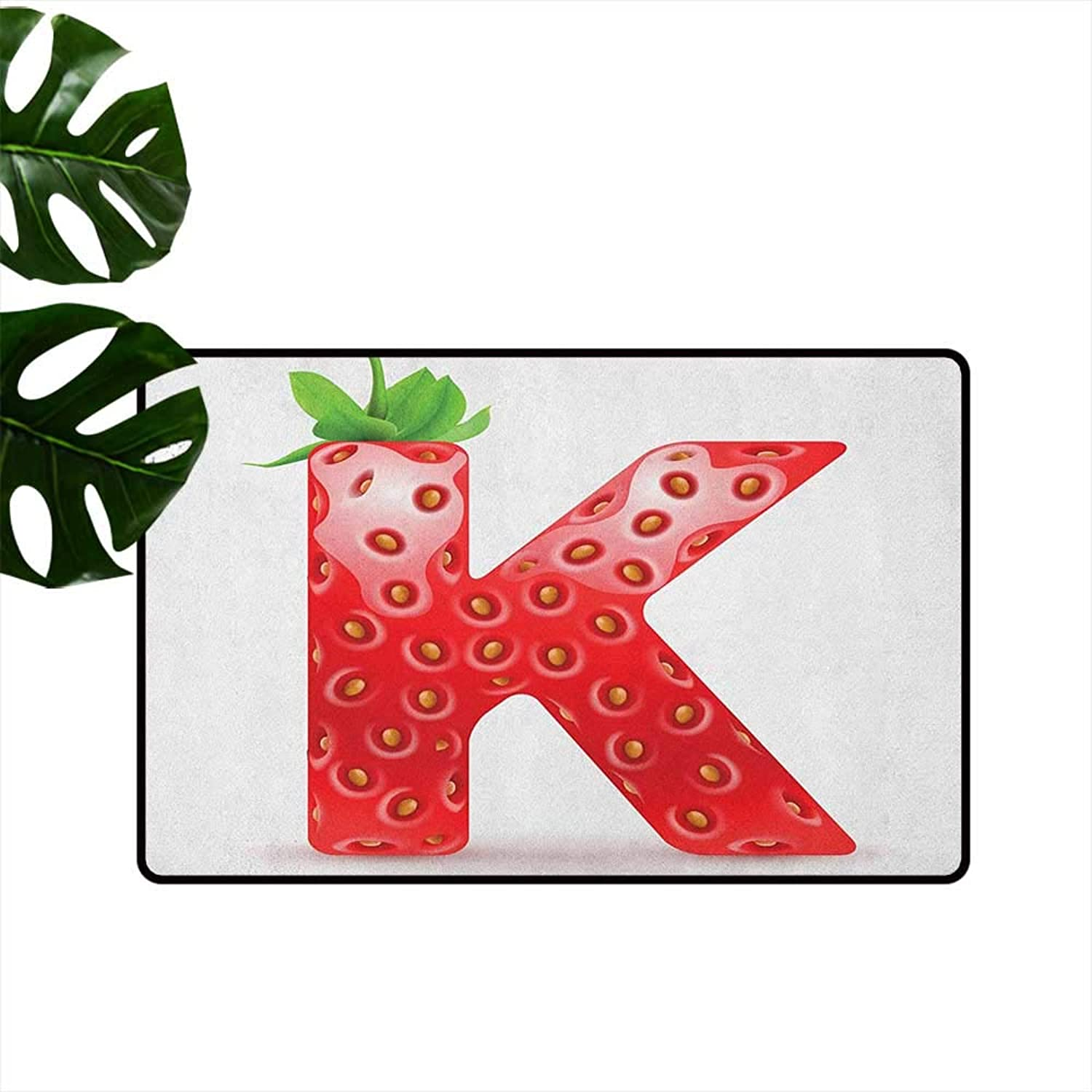 Letter K Large Outdoor Indoor Rubber Doormat Fresh Food Strawberry Style Capital K Seasonal Refreshment Design Personality W35 x L59 Vermilion Green orange