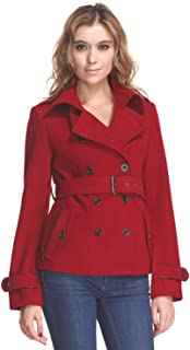 ZAREEN Women's Short Wool Blend Coat with Trench Style
