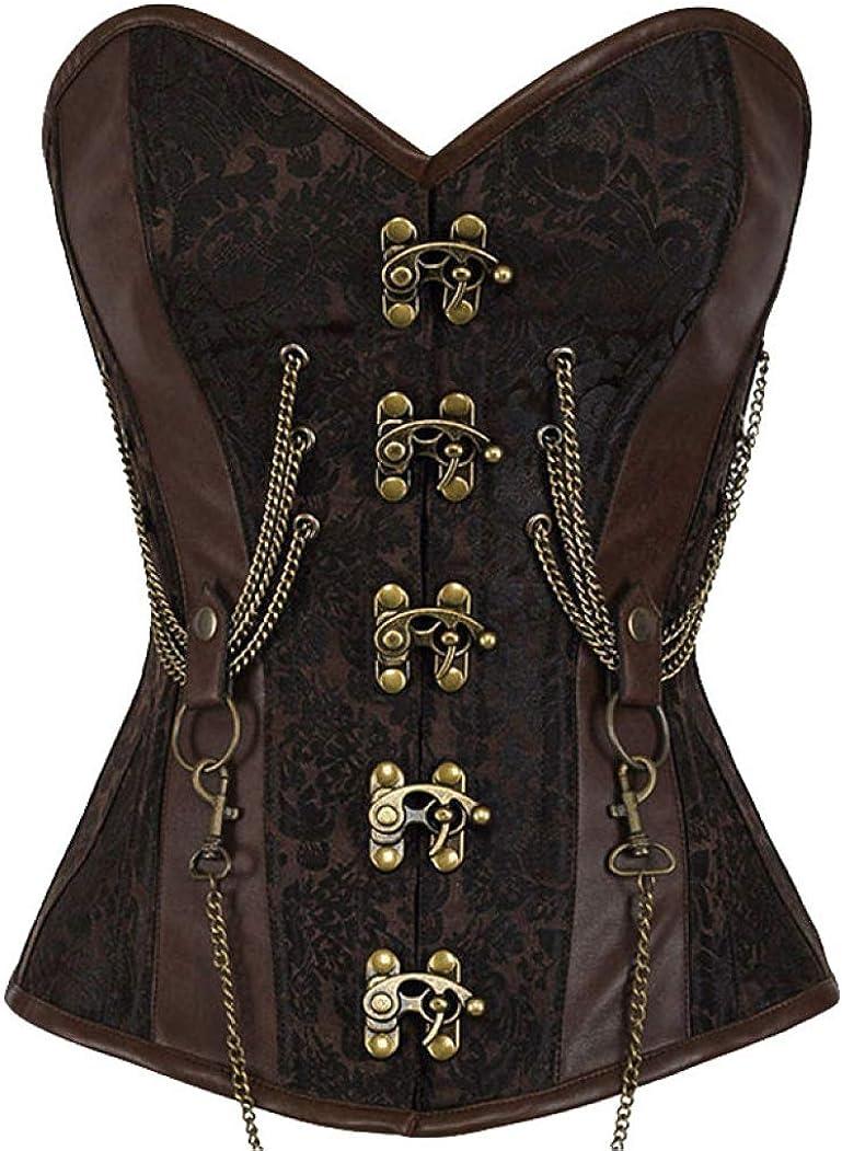 Women Max 60% OFF Vintage depot 14 Steel Boned Printed Brown Corset Gothic Steampu