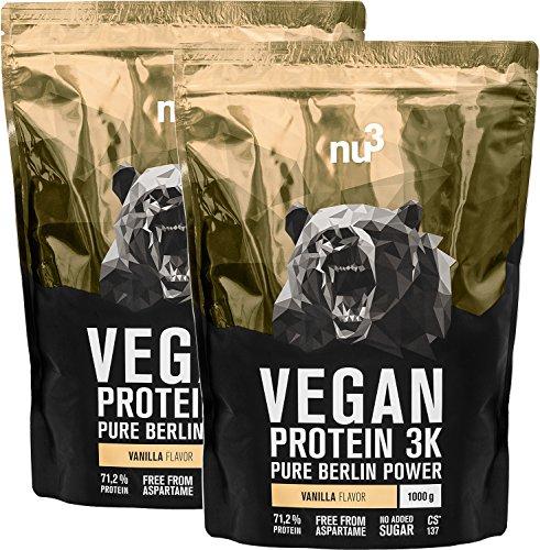 Batidos de proteínas veganas - Proteína vegetal 3K en polvo - de 3 componentes vegetales (guisante, cáñamo & arroz) - 2 Kg sabor vainilla - Para crecimiento y mantenimiento de masa muscular - de nu3