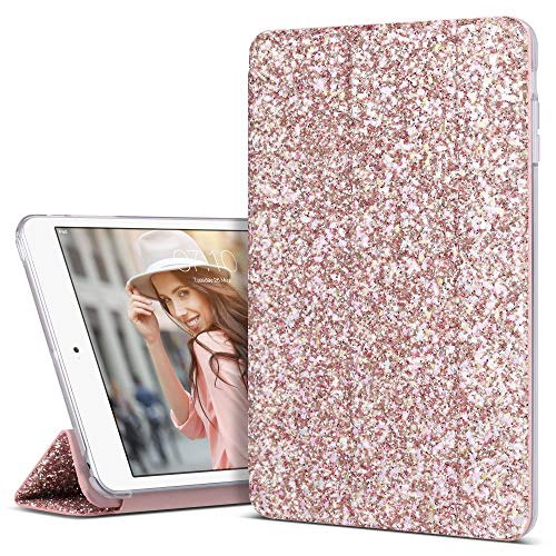 iPad Mini 3 Case, iPad Mini 2 Case, iPad Mini Case, ULAK Glitter Sparkly Trifold Stand Smart Cover for Apple iPad Mini 1/2/3 Clear Back Cover Lightweight with Auto Sleep/Wake Function, Bling Pink