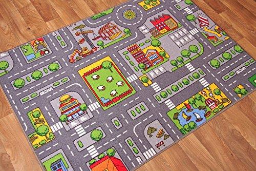 """The Rug House Tapis de Jeu pour Enfants avec Routes et Village, Polyamide, Gris, 95cm x 133cm (3ft 1"""" x 4ft 4"""")"""
