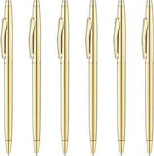 Unibene Slim Metallic Retractable Ballpoint Pens – Gold, Nice Gift for Business..