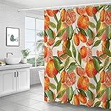 Duschvorhang, Obst-Design, bunt, Wasserfarben, frischer Polyester-Stoff, wasserdicht, waschbar, langlebig, Duschvorhang mit Haken, 183 x 183 cm, für Badezimmer oder Badezimmer