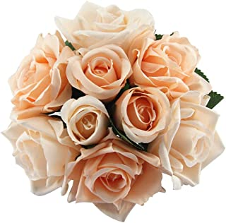 Best Artificial Fake Flowers Silk Plastic Artificial Roses 9 Heads Bridal Wedding Bouquet for Home Garden Party Wedding Decoration (Champagne) Review