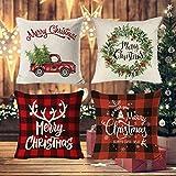 Fundas Navideñas para Cojines,Fundas de Almohada Navideñas,Fundas para Cojines,Fundas de Cojines Navidad,Navideños Fundas Cojines Decorativos,Adorno para Fiesta de Navidad,45cm x 45cm,4 Piezas