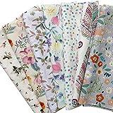 7枚 和柄 綿 生地 かわいい 手芸生地 46x56cm 手作り キット おしゃれ ハンドメイド 手芸用 布セット (花柄)