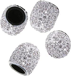 4 Stück Reifen Ventilkappen,MoreChioce Universal Diamant Glitzer Strass Ventilkappen Reifenventil Staubkappen Fahrradreifenventilkappen für Auto Motorrad MTB LKW,Weiß