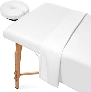 Saloniture 3-Piece Flannel Massage Table Sheet Set - Soft Cotton Facial Bed Cover - Includes Flat and Fitted Sheets with Face Cradle Cover - White