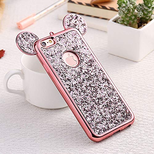 Bling iPhone 7 Plus Case, iPhone 8 Plus Silicone Cover Back Case, Sparkle Glitter Diamond Soft TPU Case with Shiny Pattern 3D Cute Ear Design Gems Rubber Protective Bumper Shell-Rose Gold