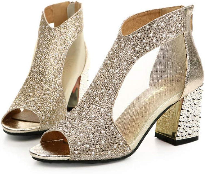 T-JULY Women Bling High Heels Diamond Summer Square Heel Sandals Wedding shoes Leather Slides