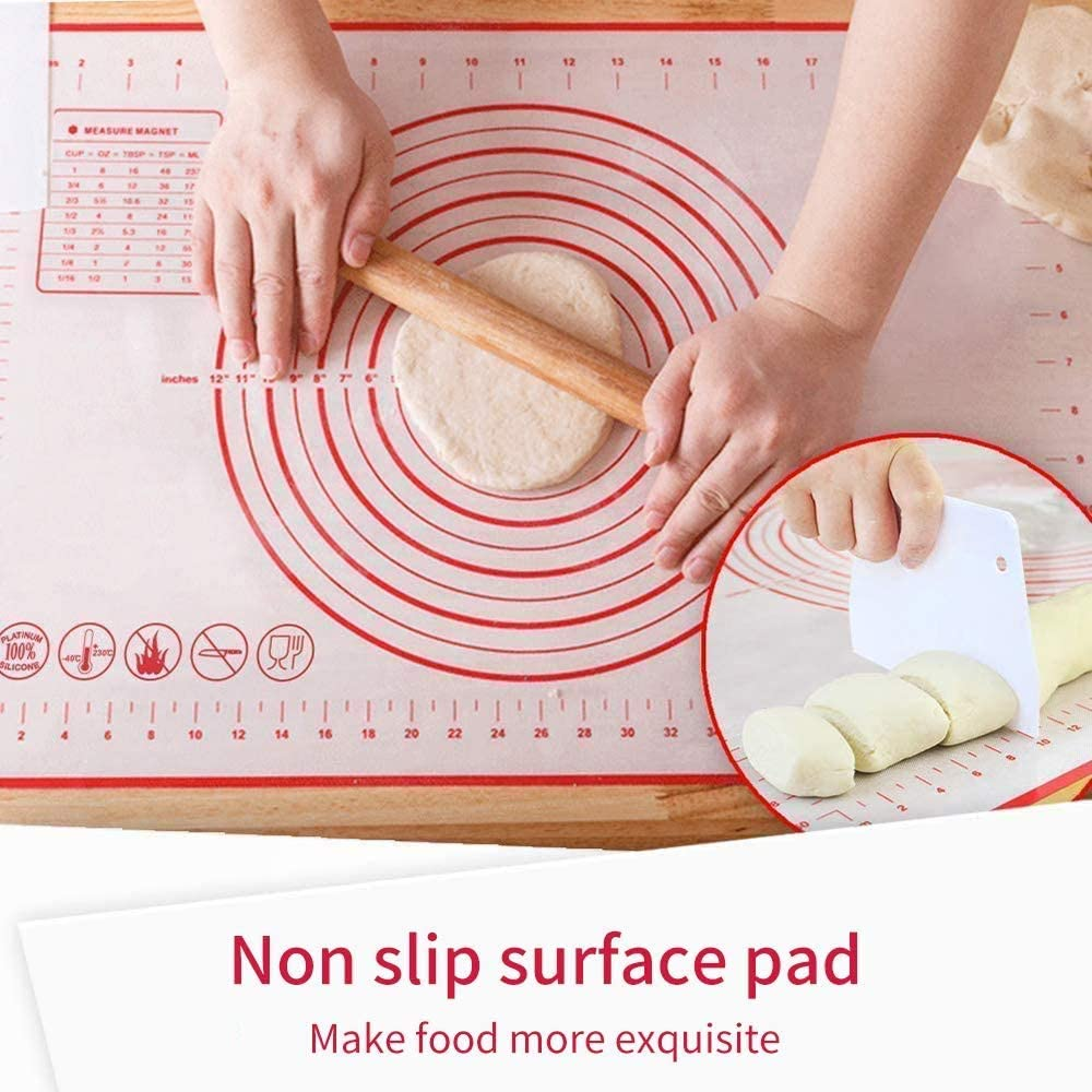 Silicone Baking Mats Non Stick Reusable Pastry Mat Baking Sheet 16 x 24 ,Red Pizza Cookies-Easy Clean Kneading Mats Large Rolling Dough Mat Baking Tray Liner for Baking Fondant