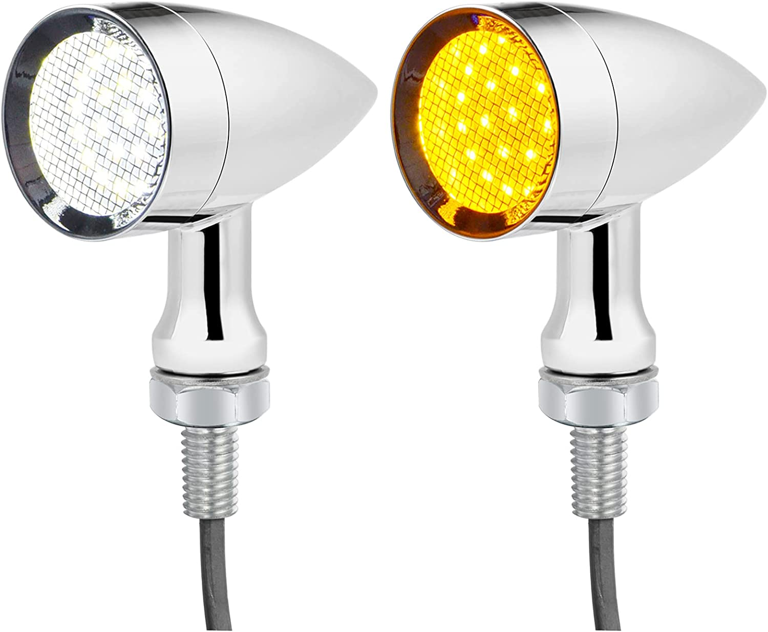 PBYMT 2PCS Motorcycle Bullet 24 LEDs Amb Signal White Front Turn Super Selling beauty product restock quality top