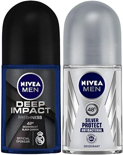 Nivea Deodorant Roll On for Men, Deep Impact Freshness, 50ml and Deodorant Roll On for Men, Silver Protect, 50ml
