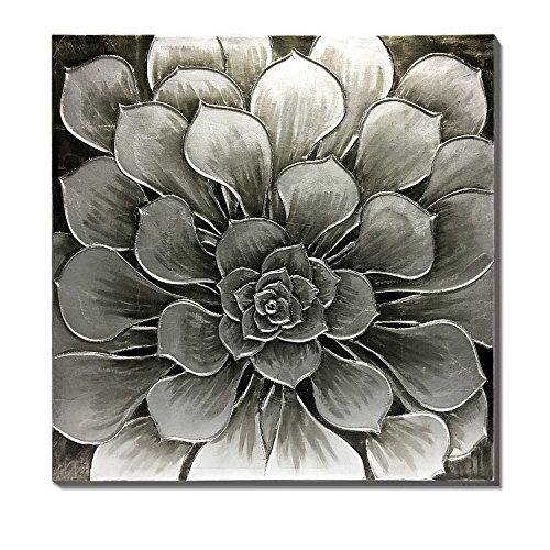 WESIATOR - Silver Flower Canvas Wall Art Large Modern Black Grey Floral Oil Painting for Bedroom Living Room Bathroom Decoration, Hand Painted, Ready to Hang (75x75cm)
