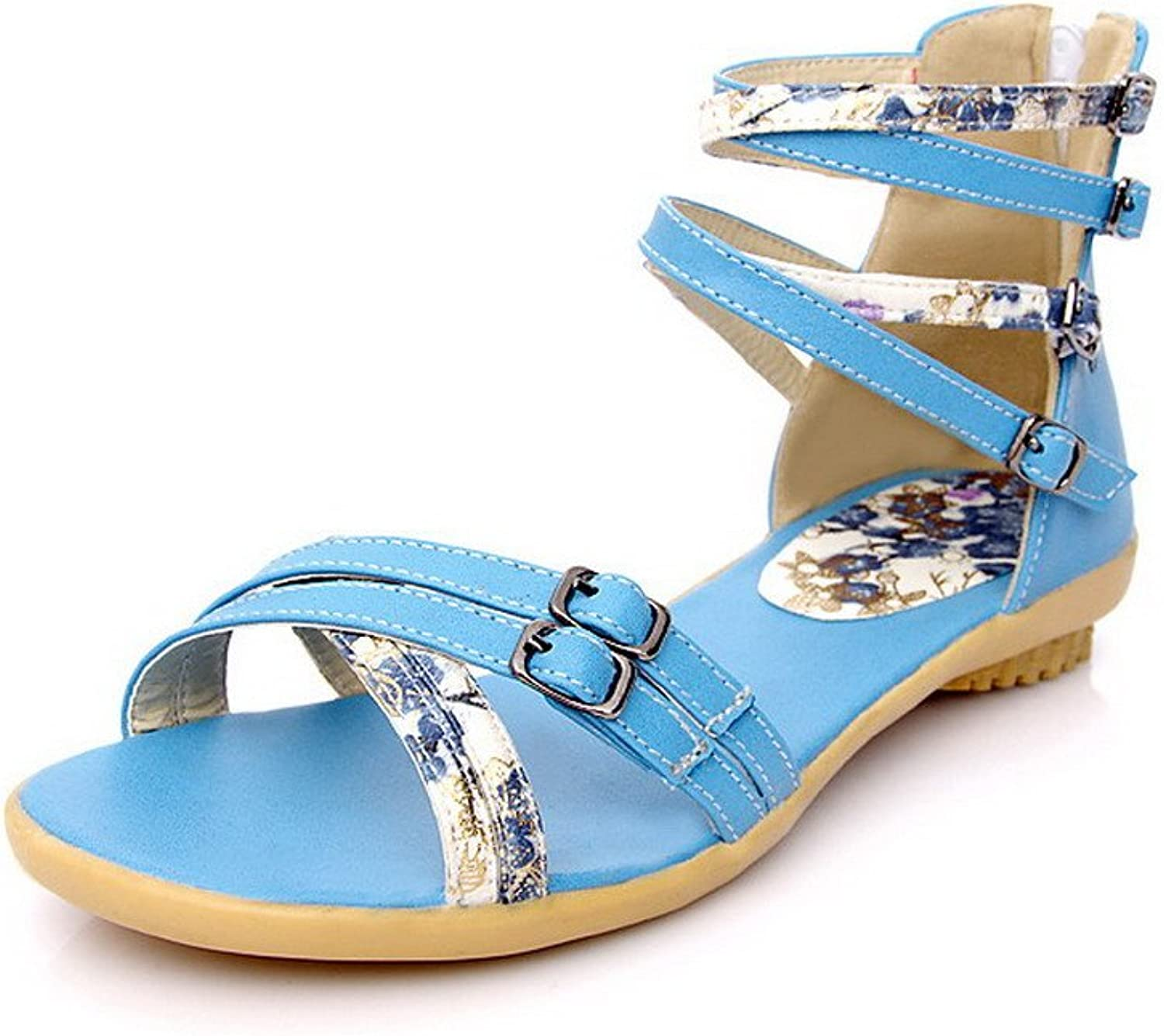 WeenFashion Women's PU Assorted color Zipper Open Toe Low-Heels Sandals
