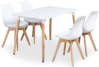 P & N Homewares® Table de Salle à Manger Lorenzo et 4 chaises Ensemble récent et Moderne de Cuisine scandinave Chaises Bla...