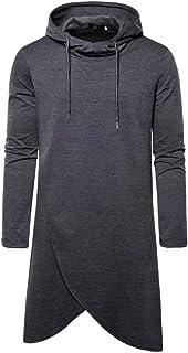 Men Fashion Irregular Hem Design Long Hoodie Pullover,Casual Hooded Poncho Cape Cloak