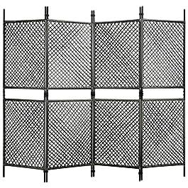 BIGTO Paravent de séparation pliable en rotin 4 panneaux Anthracite 240 x 200 cm