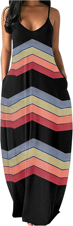 ORT Women Dress Fashion Women's Loose Casual Summer Sunflower Print Pocket Sling Sleeveless Dress Skirt Long Dresses