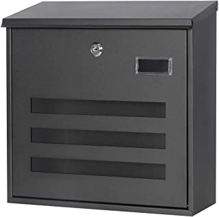 Jssmst(ジェスマット) メールボックス ブラック ポスト キーロック 大型 郵便受け 壁掛け 34.5x33x11cm(918-Black)