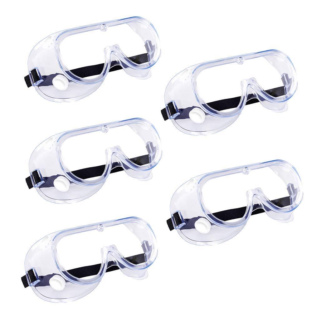 Gafas Protección, Laboratorio Gafas de Seguridad con Transparentes Lente óptica Anti Rasguños Antivaho Anti Virus - Protectoras para Ciclismo/DIY/Trabajo, Perfecto para Usuarios de Gafas Graduadas (5)