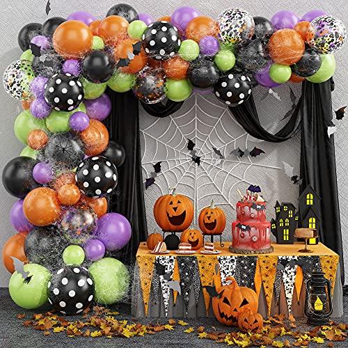 Juego de 155 globos de Halloween, globos de látex negro, naranja, morado, globos de confeti con murciélagos 3D, araña, araña Wed, KEPMOV Deco para Halloween temático fiesta suministros decoración aula
