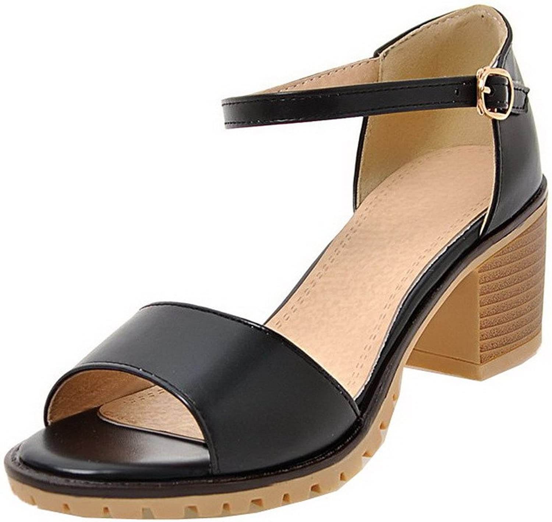 WeiPoot Women's Open-Toe Kitten-Heels PU Solid Buckle Sandals, EGHLG004851