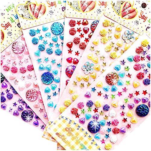 BLOUR Nuevas Pegatinas de Diamantes acrílicos para niños Hechos a Mano DIY Decorativas Brillantes Piedras Preciosas de Cristal Pegatinas para Manualidades Juguetes de Regalo para niños