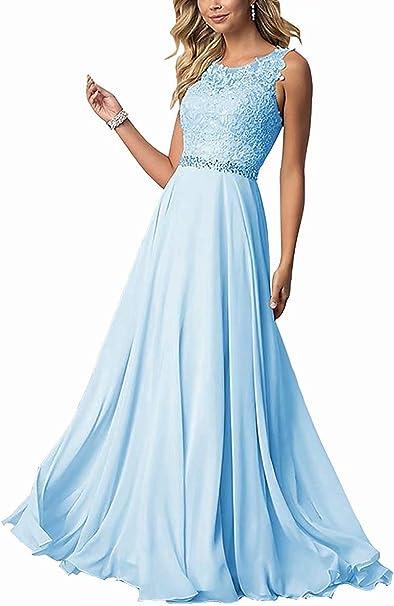 Clla Dress Damen Chiffon Spitze Abendkleider Elegant Brautkleid Lang Festkleid Ballkleider Amazon De Bekleidung